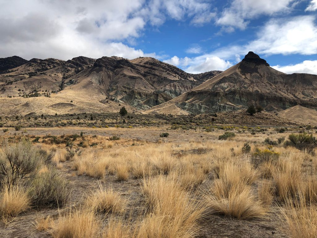 "Blue Mountains Land Trust. The John Day Basin Fossil Beds National Monument is an amazing trip back in time. Here, you can see the ""blue"" hills in the Sheep Rock Unit of the Fossil Beds."
