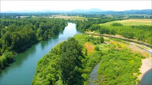 Greenbelt Land Trust. Drone image of Horseshoe Lake, Willamette River. Credit: Intel Corporation