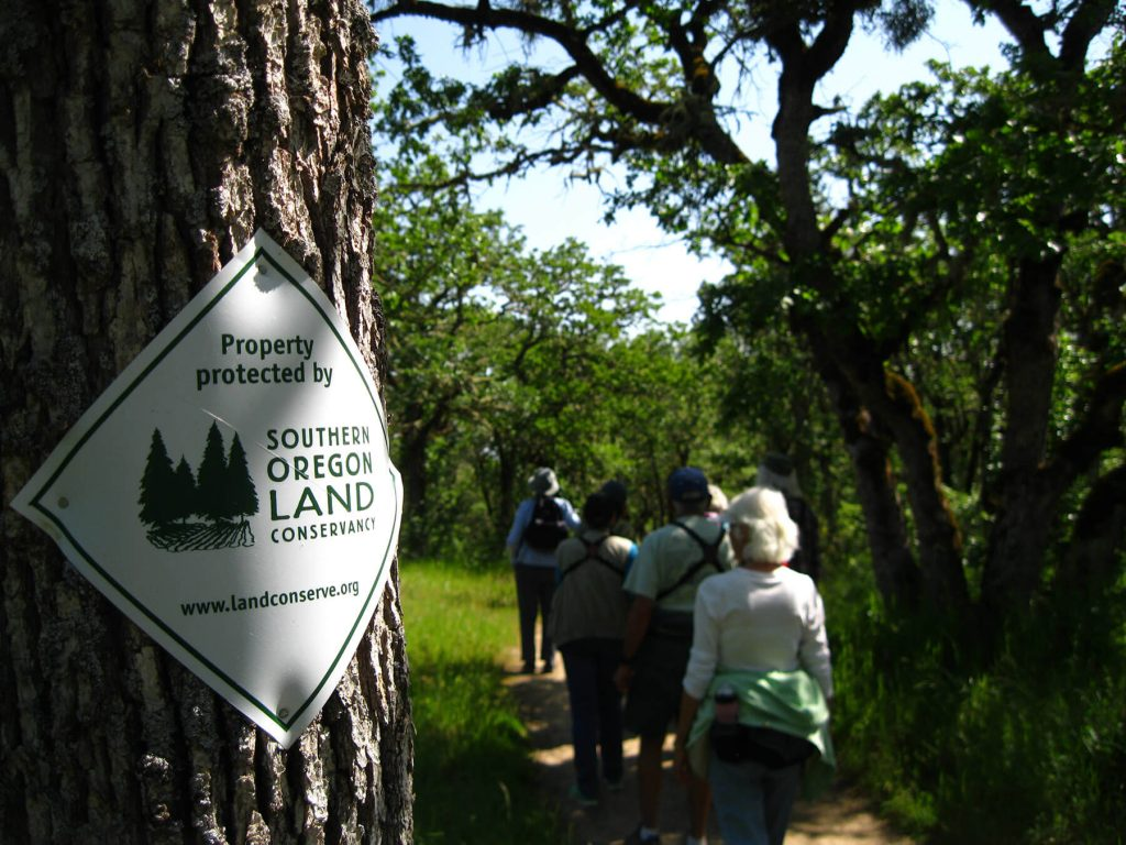 Southern Oregon Land Conservancy. Trail and sign. by Teresa Fernandez