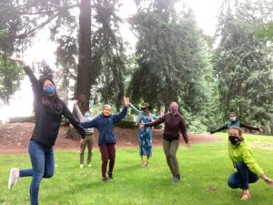 COLT staff safe, distanced. masked park retreat in 2020
