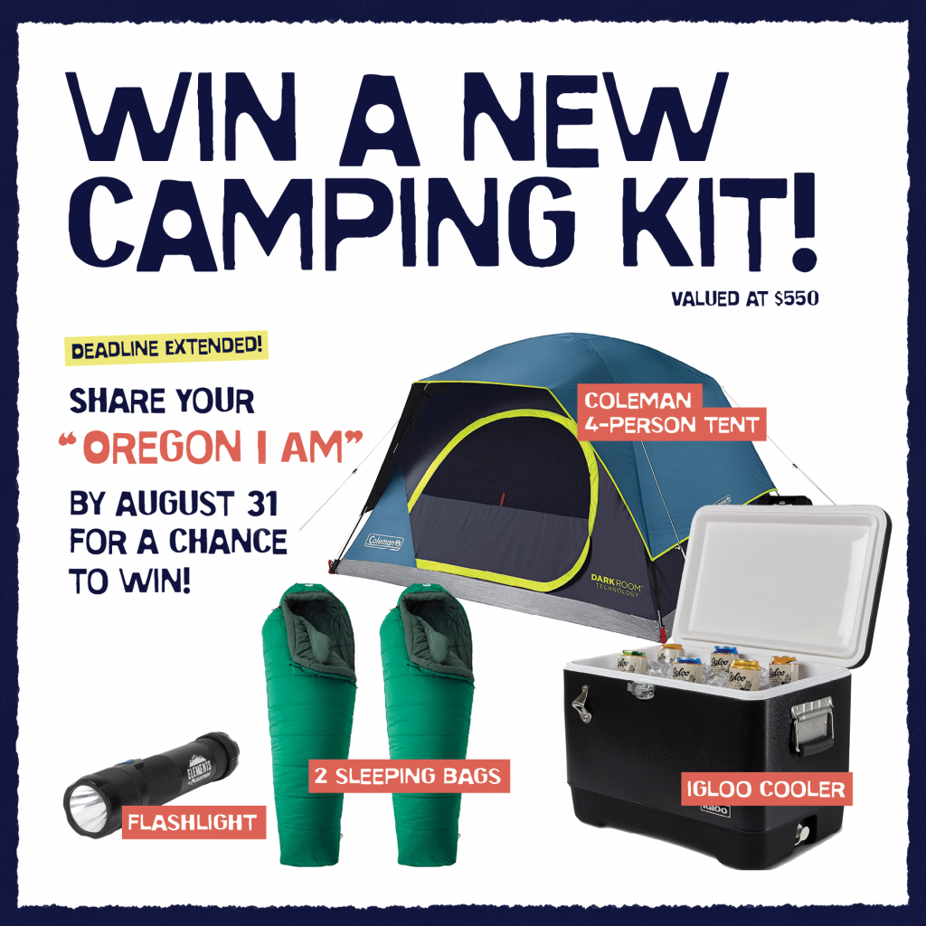 Image preview of the camping kit raffle giveaway items including a tent, cooler, flashlight, and two sleeping bags.