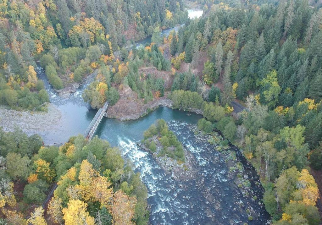 A birds eye view of the Powerdale Corridor, conserved lands along the Lower Hood River adjacent to the City of Hood River. Columbia Land Trust restored the floodplain after removing derelict infrastructure from an old hyrdoelectric plant. Drone photo by Gabriel Olson, Owl N Tree Photography